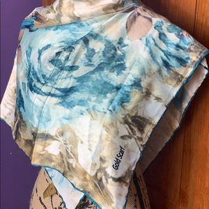 Gold Scarf in Blue Roses